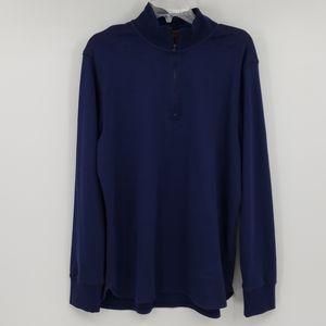 ROBERT GRAHAM blue long sleeve 1/4 zip shirt